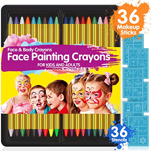 Face Paint Crayons for Kids, 36 Makeup Sticks & 36 Stencils, Professtional Face Painting kit for Halloween or Birthday Party, 6 Fluorescent, 6 Metallic & 24 Classic Colors, Safe for ()