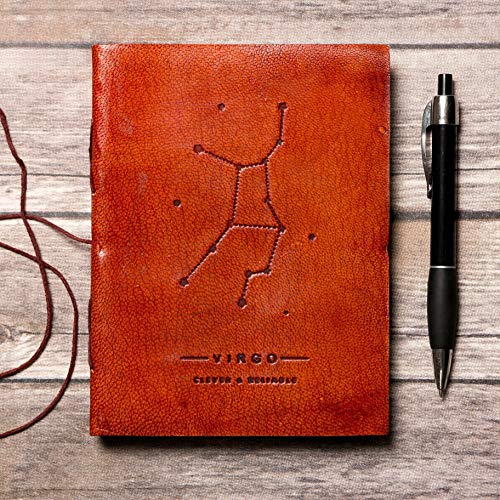 Virgo Leather Journal/Zodiac Handmade Journal/Astrology Journal/Horoscope Journal/Gifts for Him/Travel Journal/Sketchbook / Embossed Genuine Leather Journal/Your Personal Bound Notebook