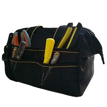 COPECHILLA bolsa herramientas electricista profesional,30X23X15CM,Negro,con correa ajustada y asa,Material 600D Oxford impermeable doble capa ...