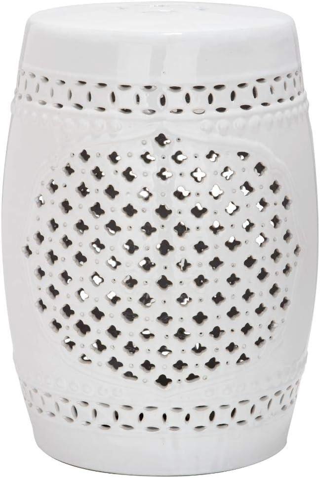Safavieh Moroccan Quatrefoil Ceramic Decorative Garden Stool, White