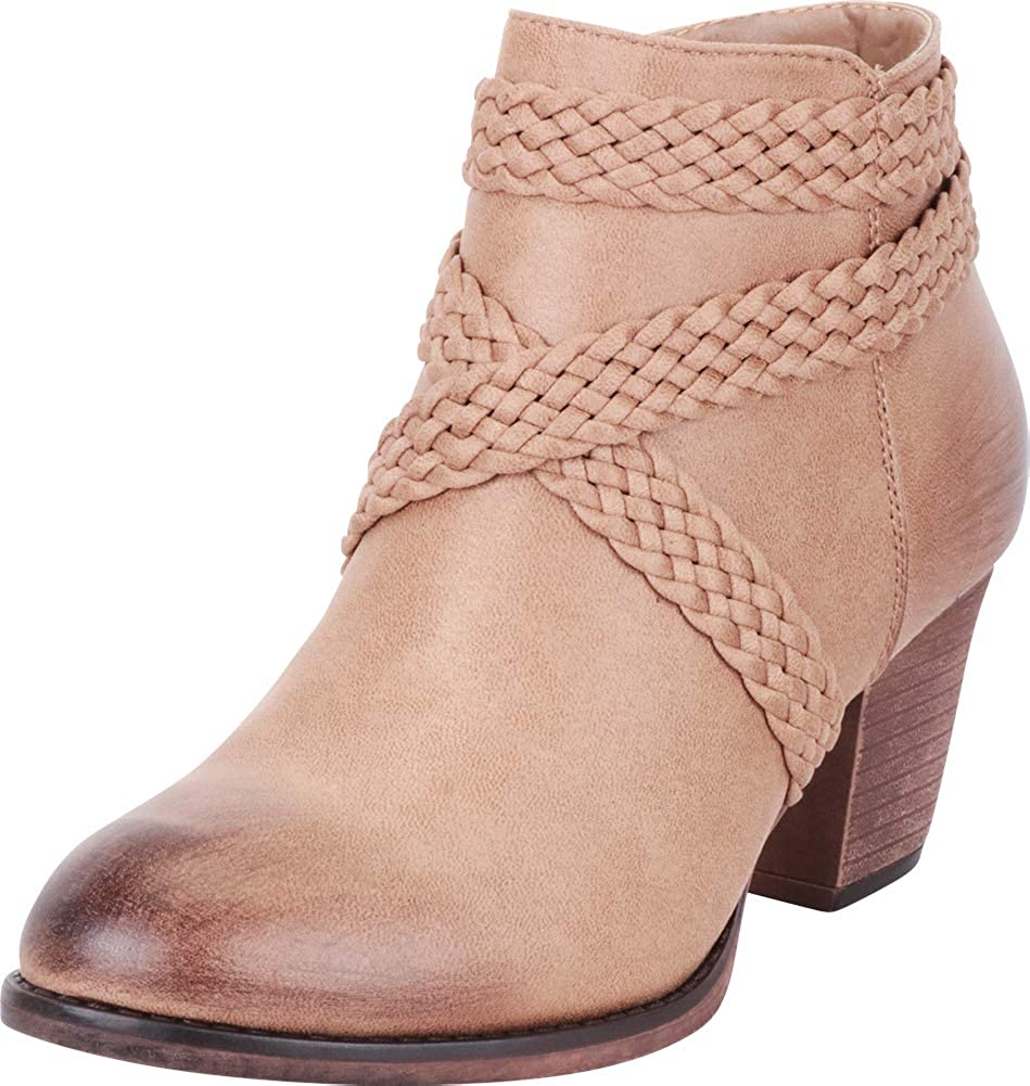 Taupe Pu Cambridge Select Women's Distressed Woven Braid Crisscross Strappy Stacked High Heel Ankle Bootie