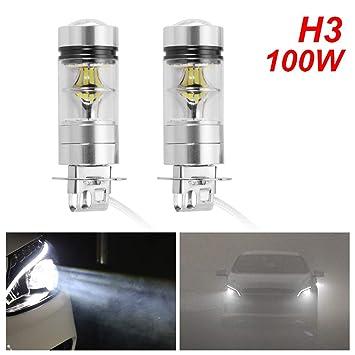 Tutmonda 2 unids H3 LED Luces antiniebla Bombillas reemplazos de lámpara Niebla automotriz Super Brillante conducción DRL 100 W 6000 K: Amazon.es: Coche y ...