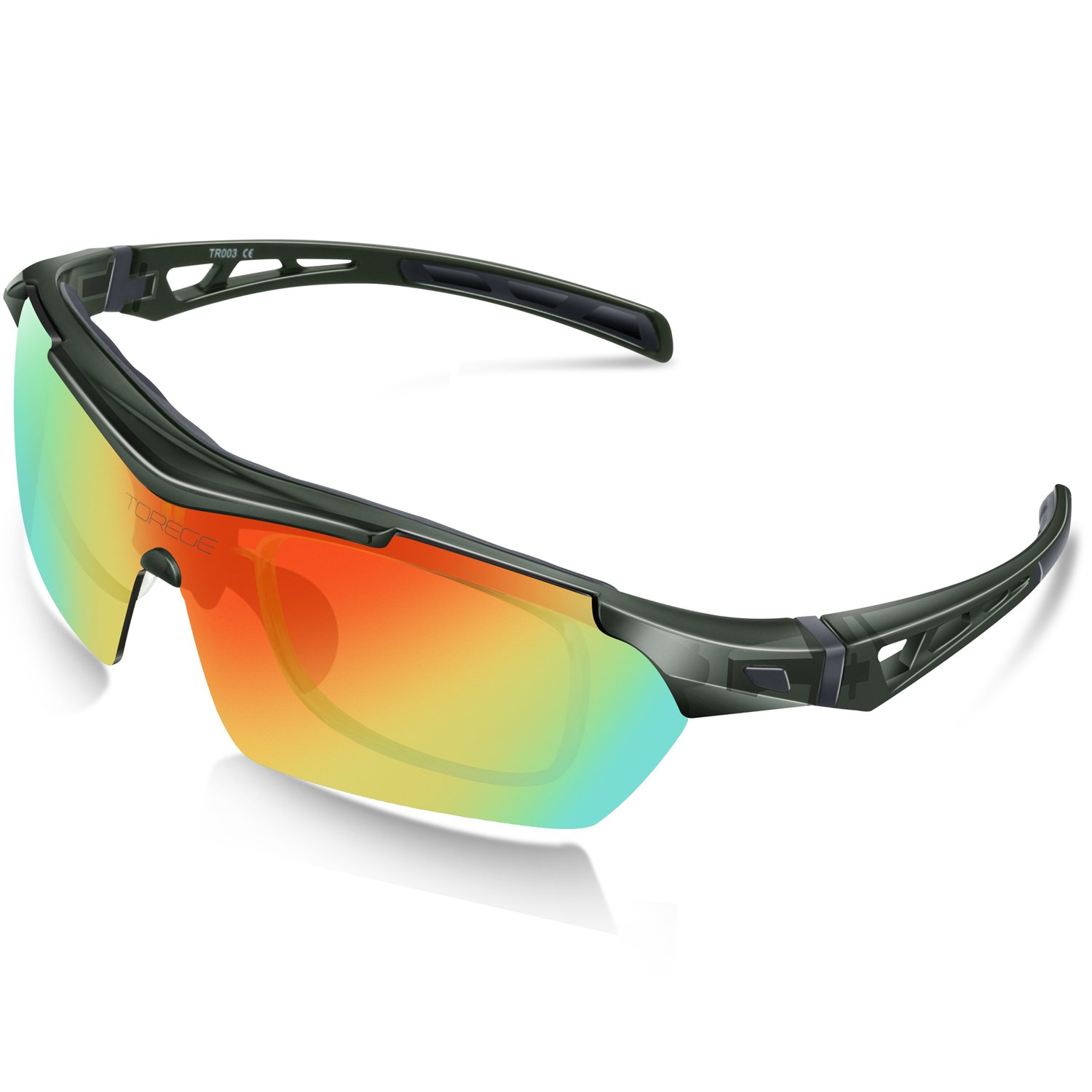 TOREGE Polarized Sports Sunglasses For Cycling Running Fishing Golf TR003 (Transparent Gray&Red lens)