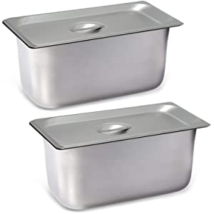 "2 Pack Steam Table Pan Third Size with Cover, Hotel Pan is 6"" Deep, Made from 25 Gauge Stainless Steel, NSF Listed."