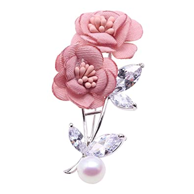 c4140905c98 JYX Pearl Pink Rose Brooch Natural Fine 9.5mm White Freshwater Pearl Brooch  Pin for Women: Amazon.co.uk: Jewellery