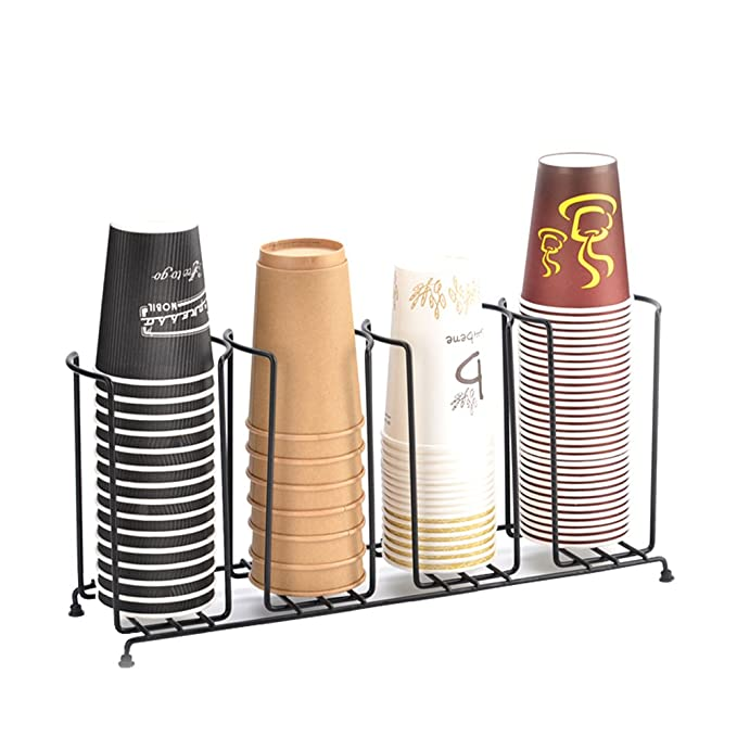 Amazon.com: MyLifeUNIT 4 Compartments Wire Rack Coffee Cup Dispenser and Lid Holder, 18-1/2