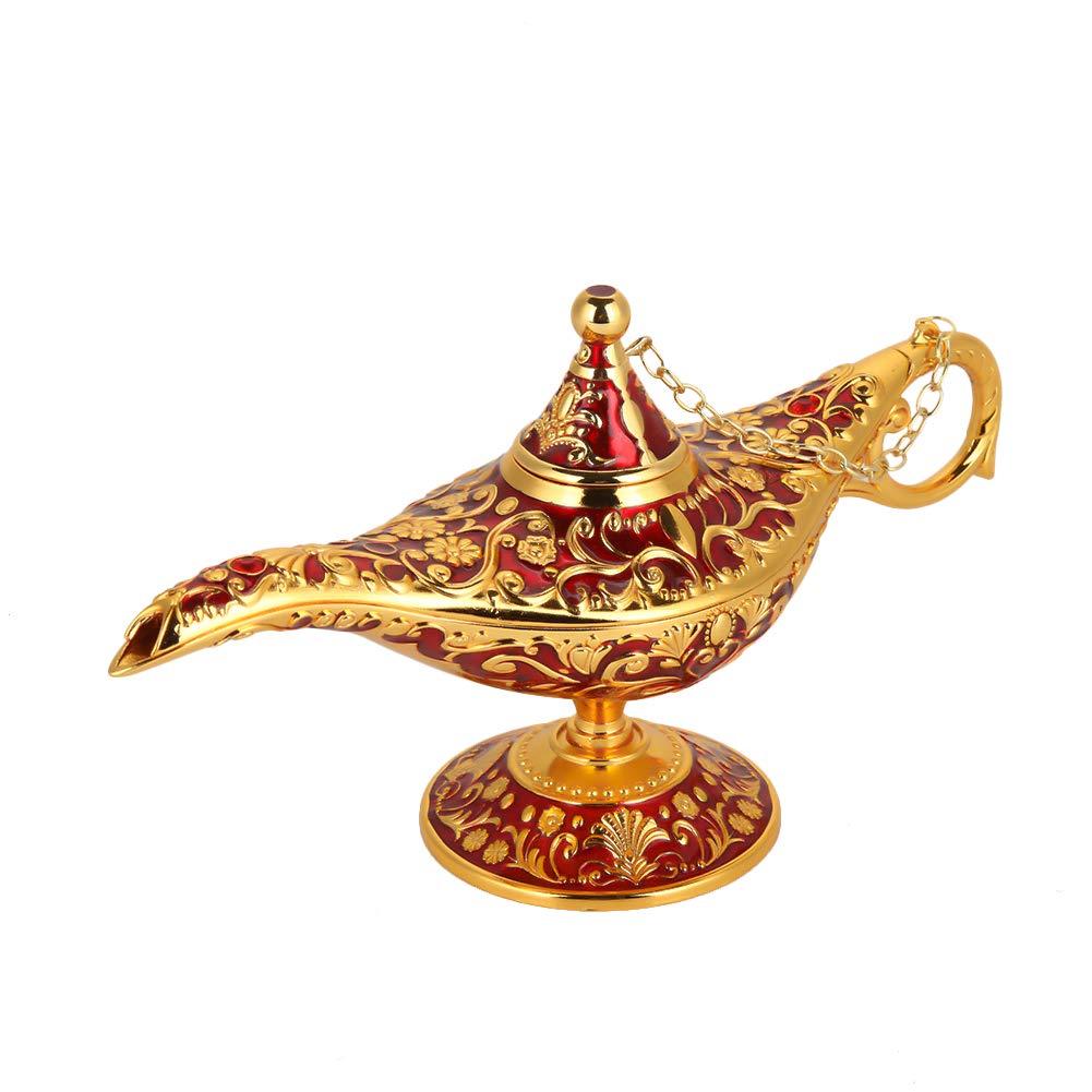 L/ámpara m/ágica de Aladdin Retro Metal Fairy Tale Aladdin Magic Genie Teapot L/ámpara de aceite Inicio Decoraci/ón de mesa azul transparente