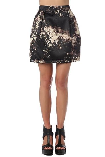 Q2 Mujer Falda globo raso con diseño estampado - One - Marron ...