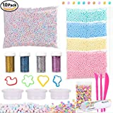 POLMMYS Slime Making Kit Including Unfading Foam Beads(Size 0.1-0.25 inch), Glitter Shake Jars, Slime Containers, Fruit Pieces, Slime Tools and Moulds for DIY Slime Making Art Craft (10 pack)