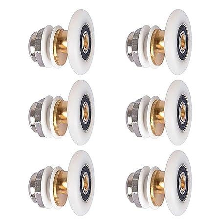 8 piezas Rodillos de puerta de ducha Corredores Rodillo deslizante de pl/ástico duradero Rueda de puerta de ba/ño Puerta de vidrio de ba/ño para piezas de repuesto de ba/ño 20mm