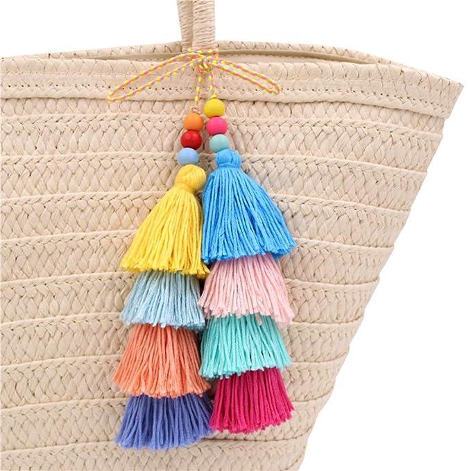 Amazon.com: QTMY - Llavero con borla colorida para mujer ...