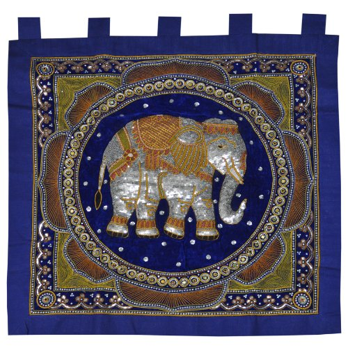 Wandbehang, Wandteppich, Wandtuch, Wandkissen, Elefant, Handarbeit, Gobelin
