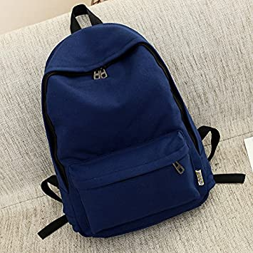 YIUXB Student canvas bag fashion Korean version of solid color female travel college style backpack,
