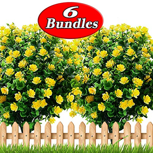 Axylex Artificial Flowers Outdoor Greenery - Fake Hanging Plants UV Resistant No Fade Faux Plastic Daffodils Bundles Shrubs Home Garden Porch Patio Decoration Office Indoor (Yellow) (Best Artificial Flowers For Outdoors)