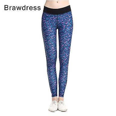 Hrph Mode Femme Long Pantalon Leggings Yoga Jogging Fitness Pantalon de  Sport Impression Leopard Bleu 78b4182bb1c