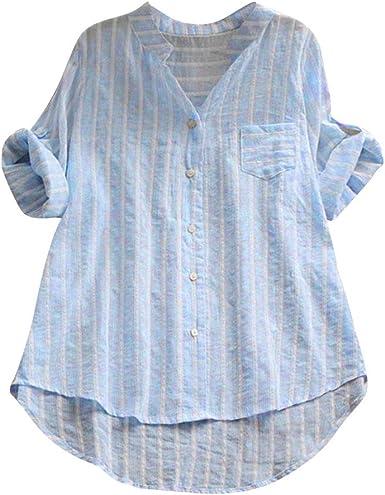 Ocio Blusas para Mujer Verano Suelto Estampado de Rayas Camisetas ...
