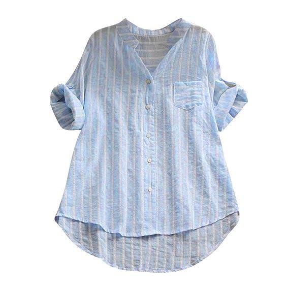 Blusa de Rayas Mujeres, Camisa de Manga Tres Cuartos de algodón Blusa Suelta