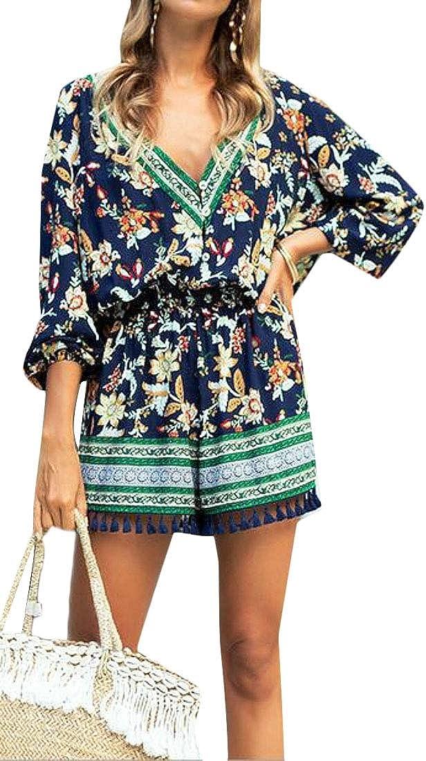 CRYYU Women 3//4 Sleeve Summer Drawstring l Print Beach Short Jumpsuit Romper