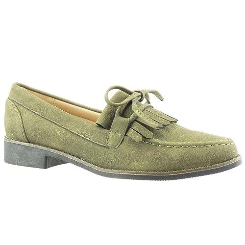 Angkorly - Zapatillas Moda Mocasines Slip-on Mujer Fleco Encaje Nodo Tacón Ancho 2.5 CM: Amazon.es: Zapatos y complementos