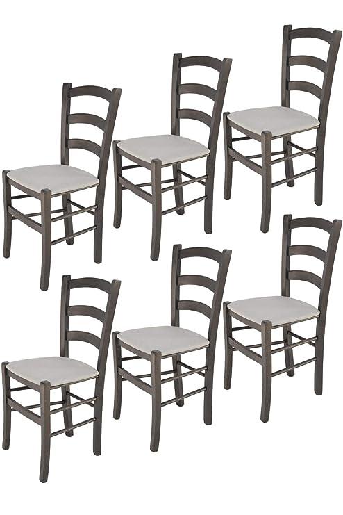 Tommychairs sillas de Design - Set 6 Sillas Modelo Venice para Cocina,  Comedor, Bar y Restaurante, Estructura en Madera de Haya Color anilina Gris  ...