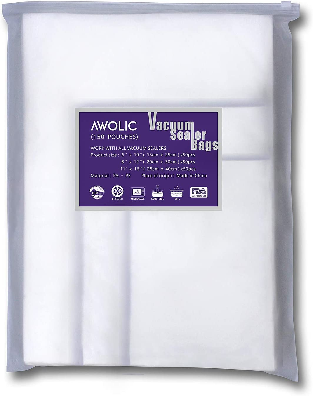 AWOLIC 150 Vacuum Sealer Storage Bags for food saver,(3 Sizes,50 Each of Pint 6x10,Quart 8x12,Gallon 11x16),BPA Free,Commercial Grade, Heavy Duty, Work on any clamp external vacuum system.