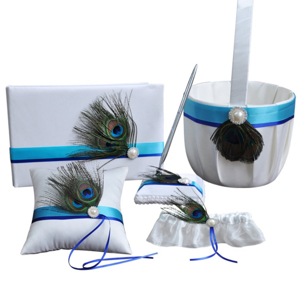 Dollbling Elegant 5 Pcs Peacock Feather Decor Wedding Flower Basket Set: Basket, Pillow,Book,Pen Holder &Garter by Dollbling