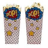 William & Douglas Ginger Ray Superhero Pop Art Popcorn Treat Boxes Party Supplies Decoration for Superhero Theme Children's Birthday Party Celebration, Movie Nights (8 Pack)