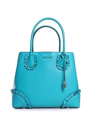 038234a9a8eb Michael Michael Kors Mercer Gallery Leather Ruffle Trim Medium Center Zip  Tote Handbag in Tile Blue at Amazon Women s Clothing store