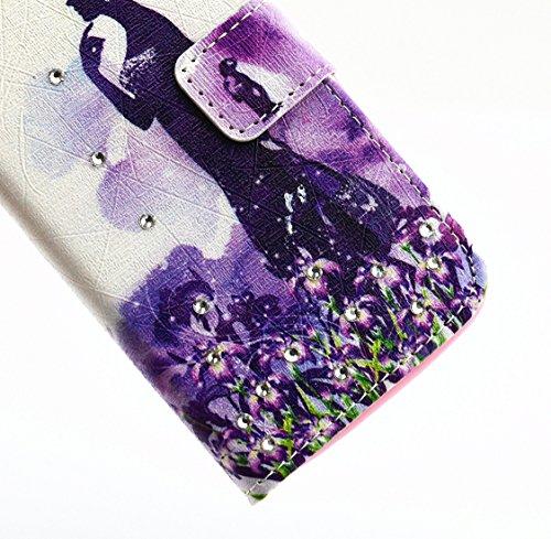 Galaxy S5 Mini Flip Funda, Bonice PU Cuero Monedero Funda Diamante Bling Cierre Magnético Shock-Absorción + TPU Caja Soporte con Ranura Tarjeta Ultra Delgada Estilo Libro para Samsung Galaxy S 5 Mini  Lavanda