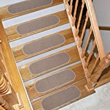 Ottomanson Homeline Escalier Collection Oval Stair Treads, 8.5''X26'', 7 Pack Oval, Beige