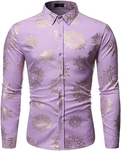 LISILI Camisa De Hombre Lujo Brillante Dorado Flores 3D ...