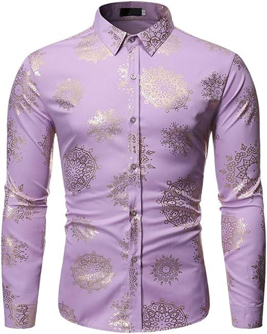 LISILI Camisa De Hombre Brillante Dorado Flores 3D Impresión Manga Larga Ajustado Abotonar Camisa De Vestir para Fiesta/Boda/Espectáculos,Rosado,M: Amazon.es: Hogar