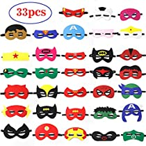 Kids Party Cosplay Masks Felt Party Masks 33Pieces Multiple Sizes Adjustable Elastic Band for Birthday Halloween Party Supplies to Decoration