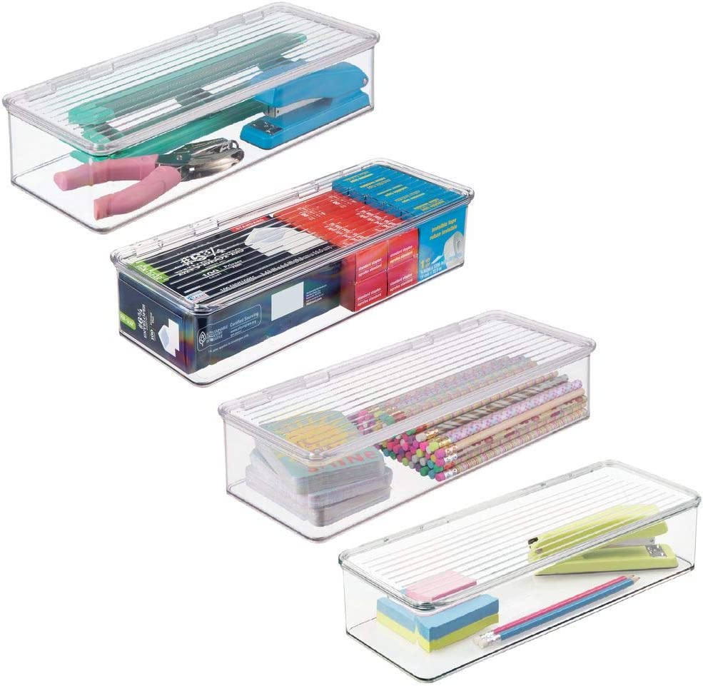 "mDesign Wide Plastic Stackable Home, Office Supplies Storage Organizer Box with Attached Hinged Lid - Holder Bin for Note Pads, Gel Pens, Staples, Dry Erase Markers, Tape - 3"" High, 4 Pack - Clear"