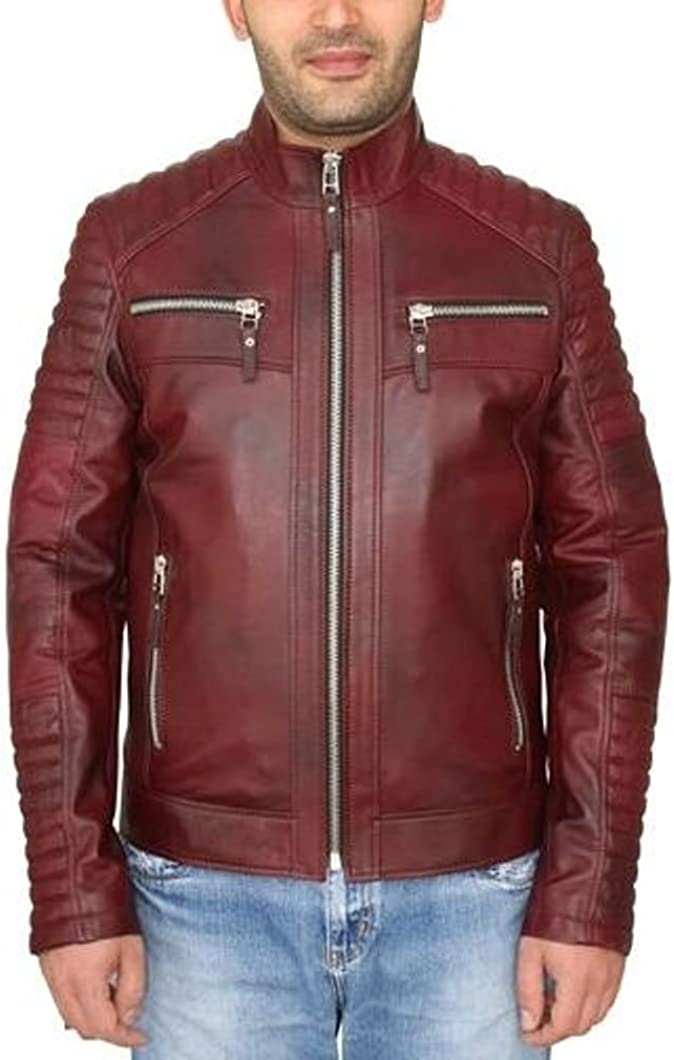 Leather N Leather Genuine Lambskin Leather Moto Biker Jacket Quilted