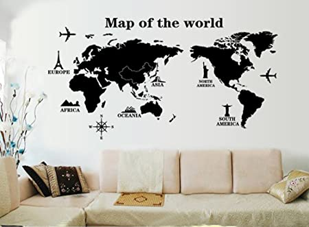 Decowall dl 1509b modern blue world map kids wall decals wall decowall dl 1509b modern blue world map kids wall decals wall stickers peel and stick removable gumiabroncs Choice Image