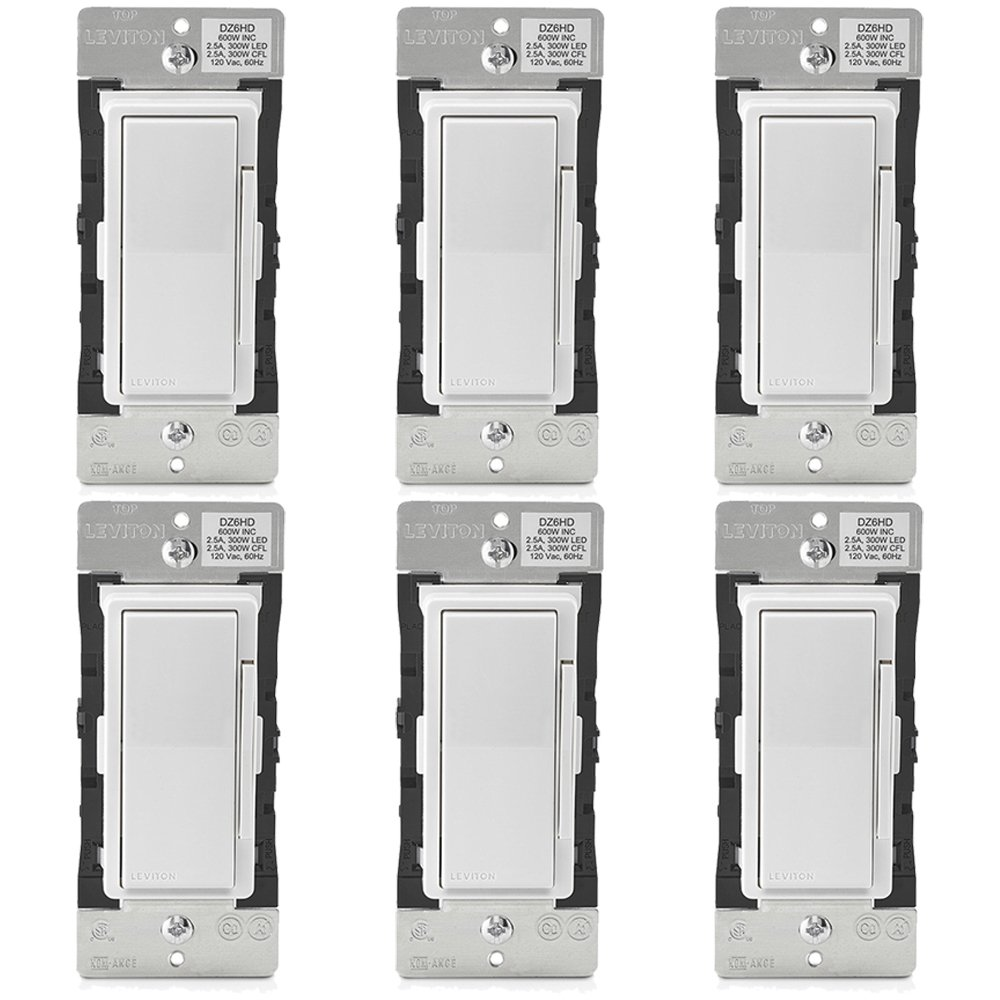 Leviton DZ6HD-1BZ Decora Smart Dimmer with Z-Wave Plus Technology, White (6 Pack) - - Amazon.com