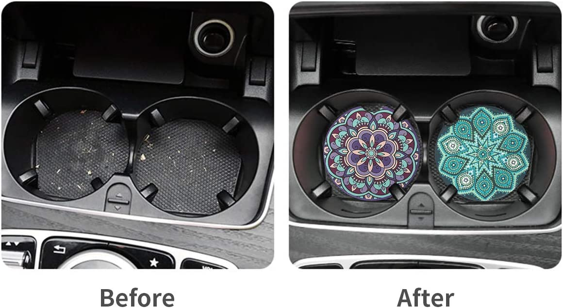 Keeps Vehicle Cup Holders Clean Off Cold Drink Spills and Condensation Vaincre 4 Pack Car Coasters 2.56 inch Absorbent Mandala Ceramic Car Cup Holder Coaster with Fingertip Grip for Easy Removal