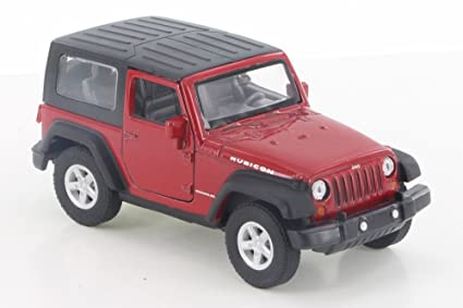 Amazon Com Welly Jeep Wrangler Rubicon Red 42371h D 4 5 Diecast