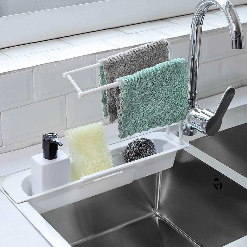Telescopic Sink Drain Basket Dish Cloth Rack Shelf Kitchen Organizer Plastic PP