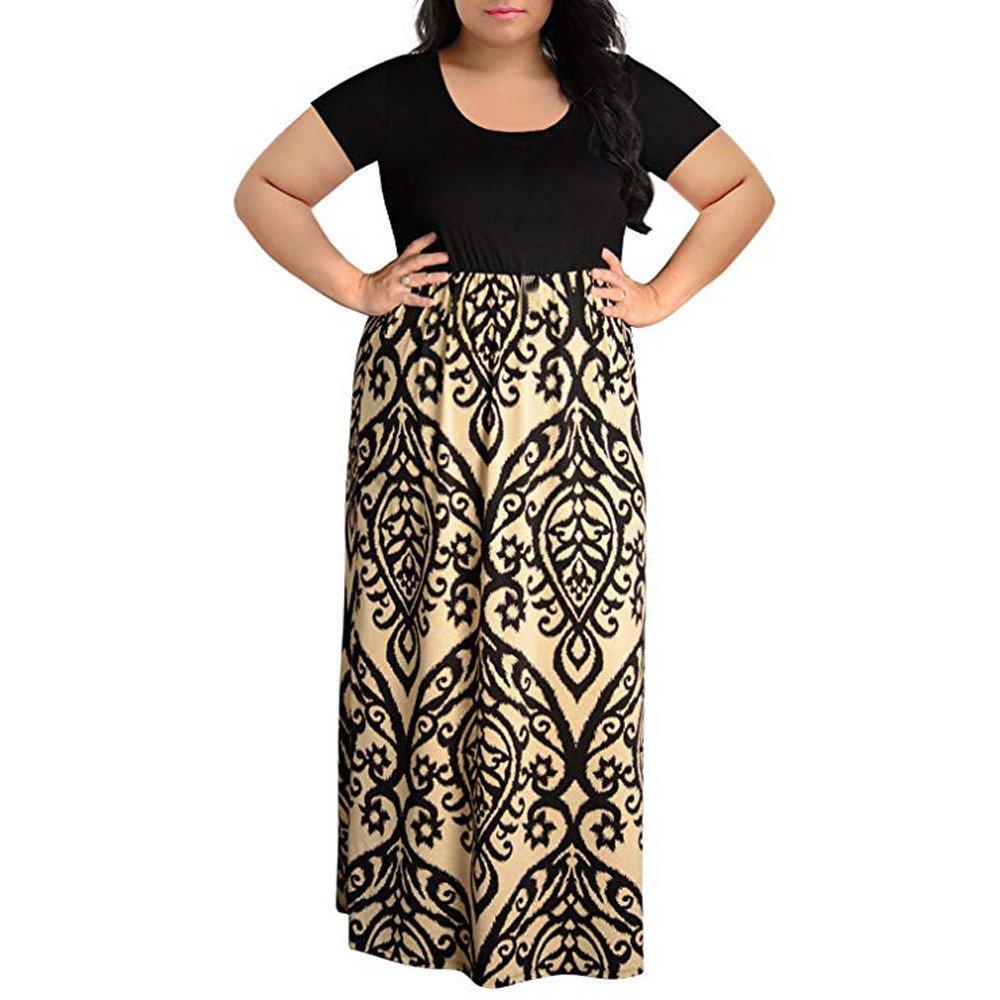 Womens Dresses Clearance! Women's Print Summer Patchwork Short Sleeve Plus Size Casual Long Maxi Dress (4XL, Khaki)