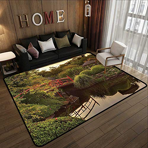 Contemporary Synthetic Rug,Japanese Decor,Peaceful Garden in Twilight with Reflections in The Water Red Bridge On Pond SunGreen Yellow 71