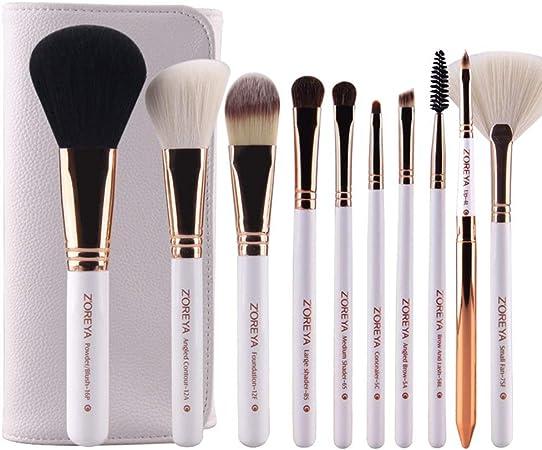 SZMH ZOREYA 15Pcs Juego de brochas de Maquillaje Estuche de Cuero Vegano Easy Travel Pinceles de Maquillaje Profesionales Blanco: Amazon.es: Hogar