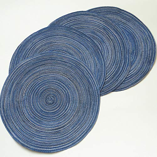 Amidaky Round Woven Placemats Thermal Insulation Dining Table Round Cotton Placemats Set of 4 Blue14 inches Washable