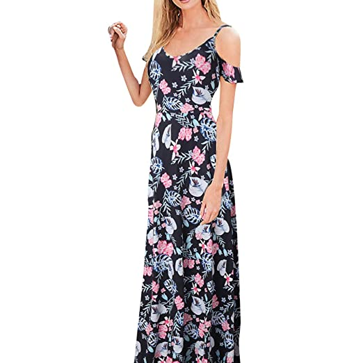Maxi Jurk V Hals.Women Cold Shoulder Maxi Dress Lady Strap Ruffle V Neck Vintage
