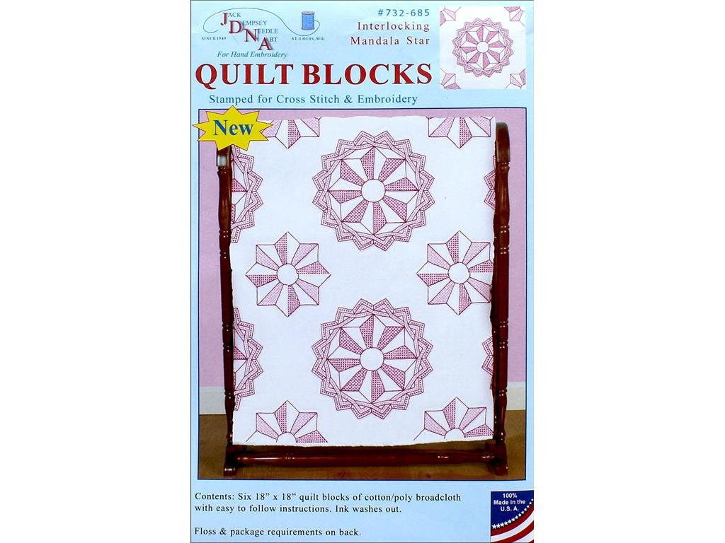 Jack Dempsey JDN732.685 Quilt Blocks 18 Mandala Star 6Pc Quilt Blocks 18 Mandala Star Jack Dempsey Needle Art