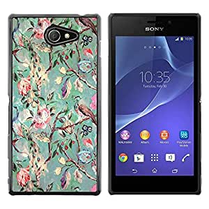 Be Good Phone Accessory // Dura Cáscara cubierta Protectora Caso Carcasa Funda de Protección para Sony Xperia M2 // Tree Flowers Teal Drawing