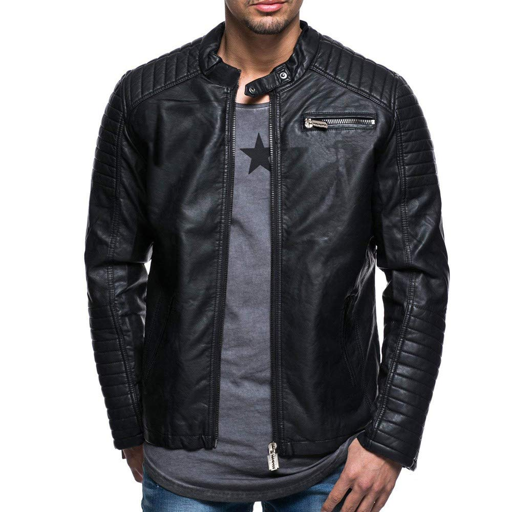 Mens Classic Pleated Leather Jacket Splicing Zipper Stand Collar Imitation Tops Black