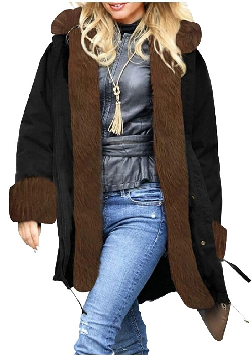 1 jxfd Women's Winter Thicken Faux Fur Hooded Plus Size Parka Jacket Coats