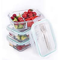3-Pack Erreloda 3 Compartment Food Storage Container Set with Airtight Locking Lids